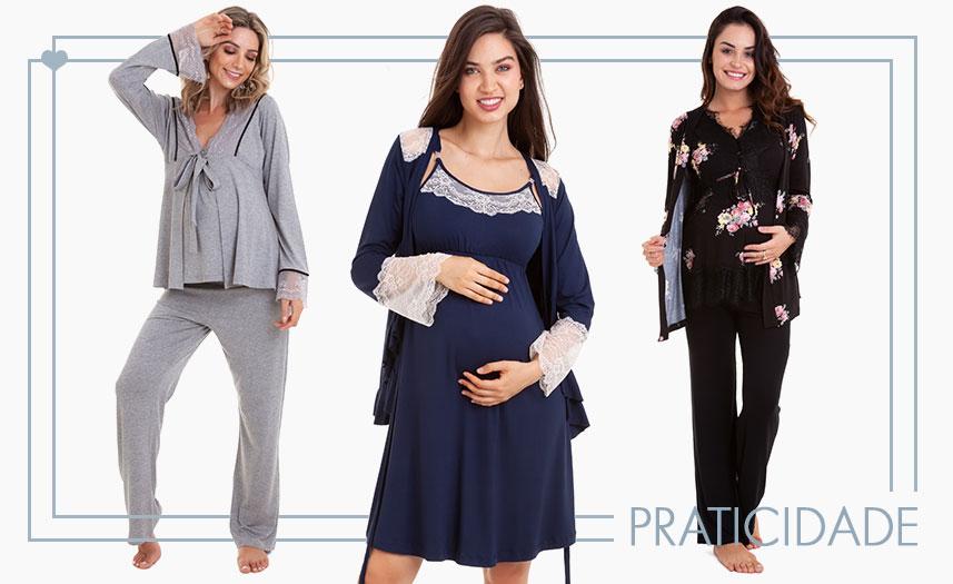 moda gestante - camisola e pijama