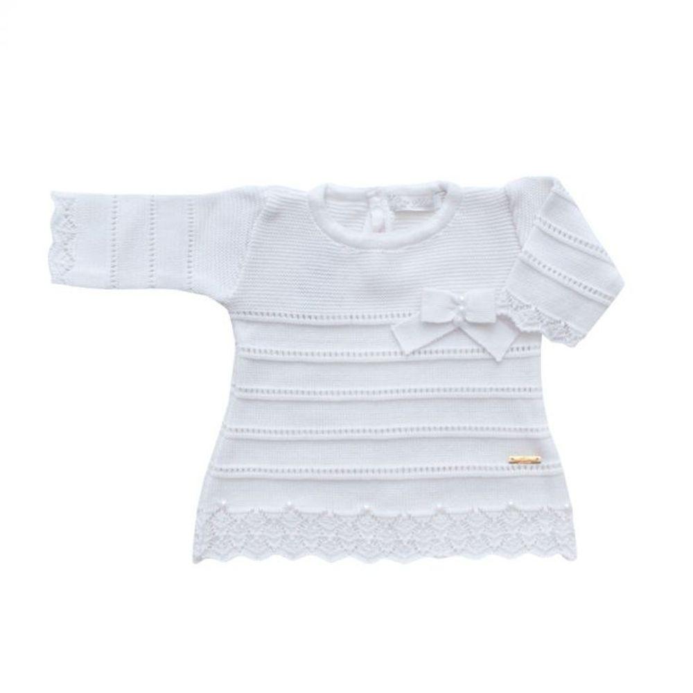 Saída de Maternidade Tricot Renda e Laço Branco - 3 peças vestido