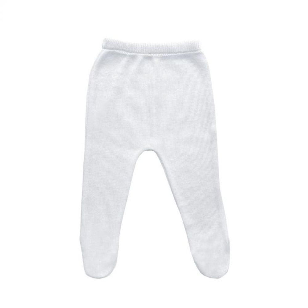 Saída de Maternidade Tricot Renda e Laço Branco - 3 peças calça