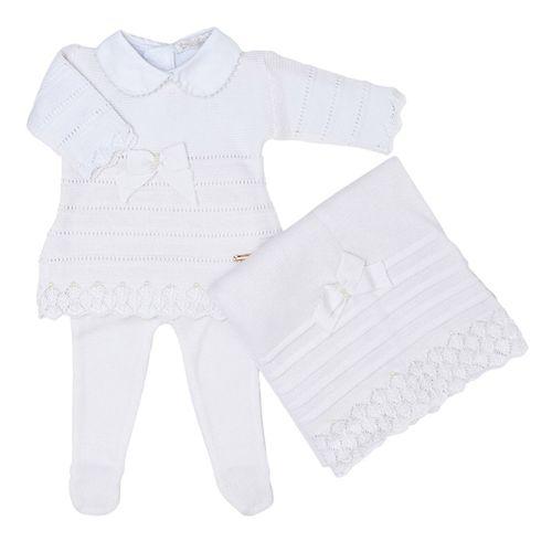 Saída de Maternidade Tricot Renda e Laço Branco - 3 peças