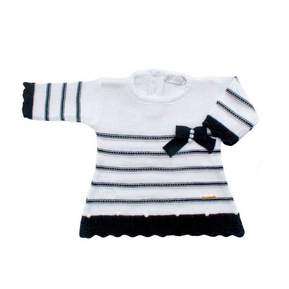 Saída de Maternidade Tricot Renda e Laço Preto - 3 peças vestido