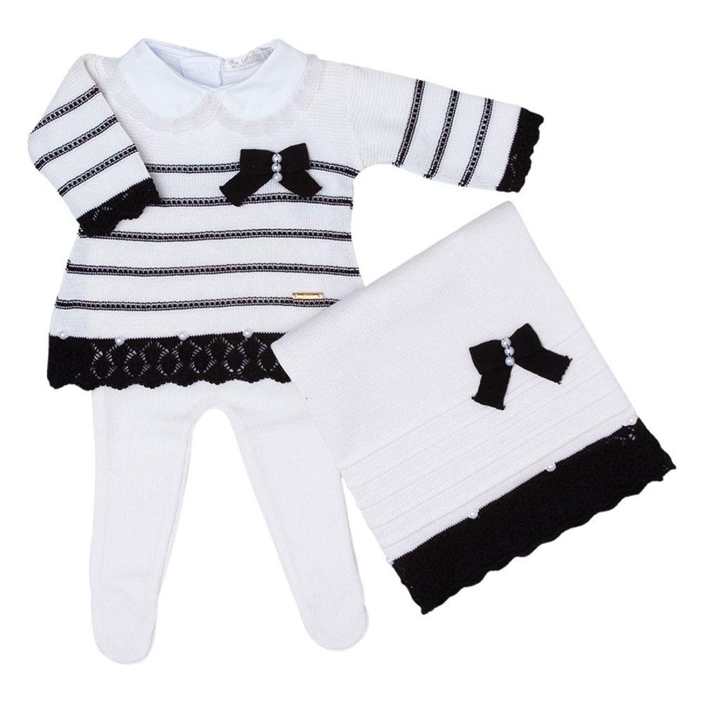 Saída de Maternidade Tricot Renda e Laço Preto - 3 peças