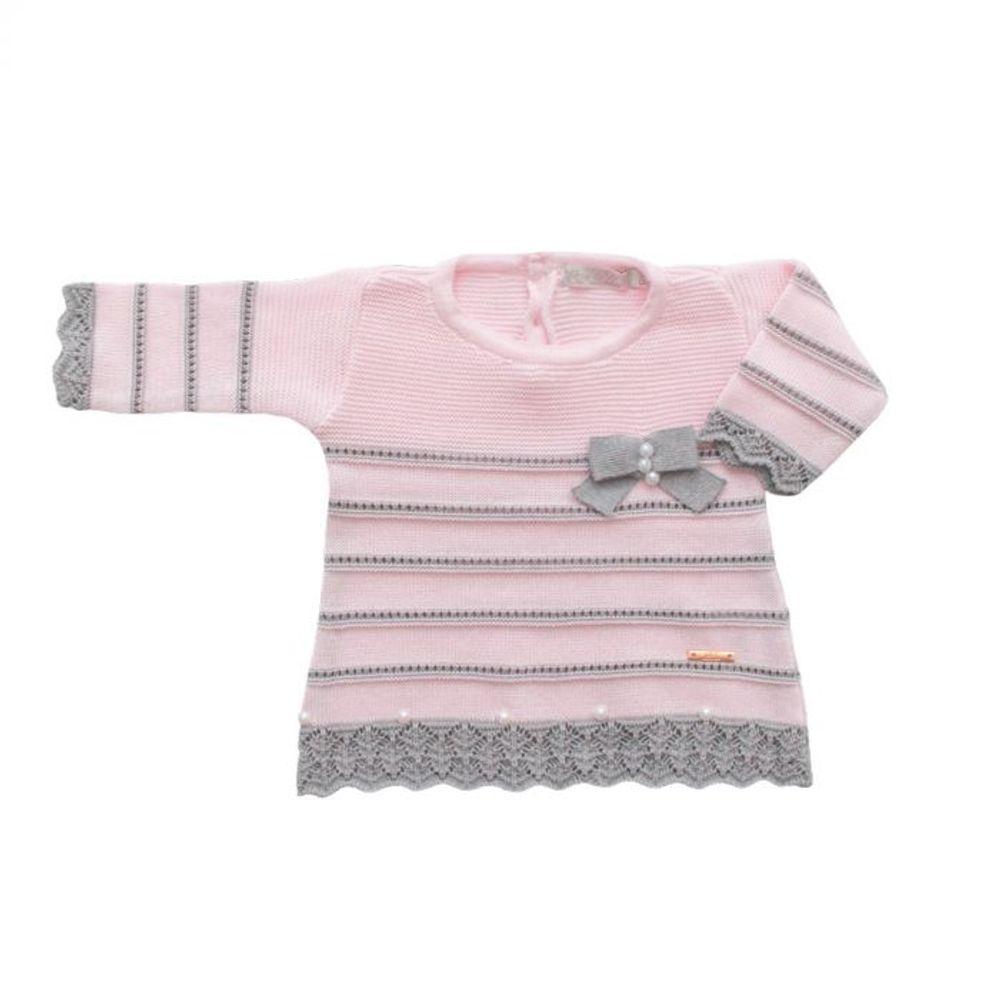 Saída de Maternidade Tricot Renda e Laço Rosa - 3 peças vestido