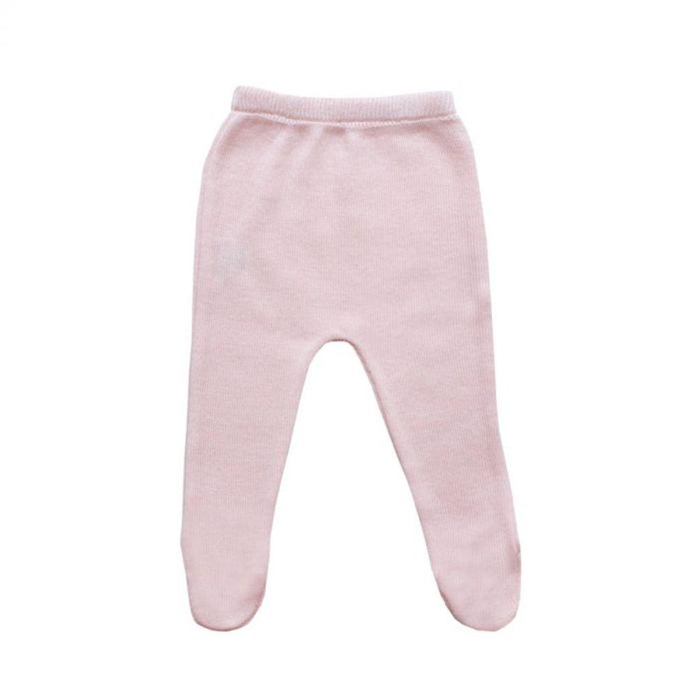 Saída de Maternidade Tricot Renda e Laço Rosa - 3 peças calça
