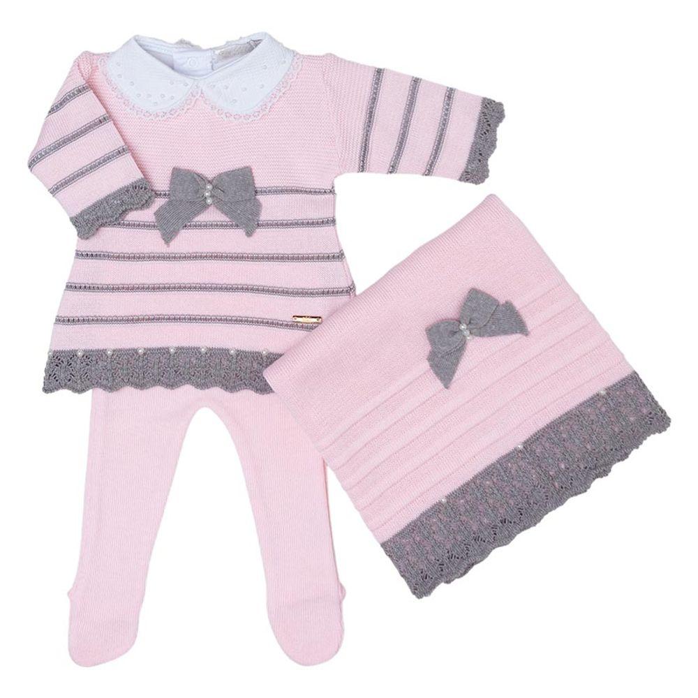Saída de Maternidade Tricot Renda e Laço Rosa - 3 peças