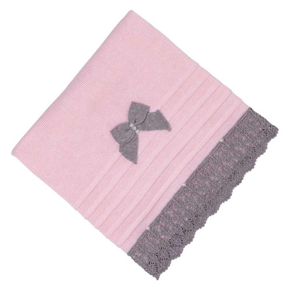 Saída de Maternidade Tricot Renda e Laço Rosa - 3 peças manta