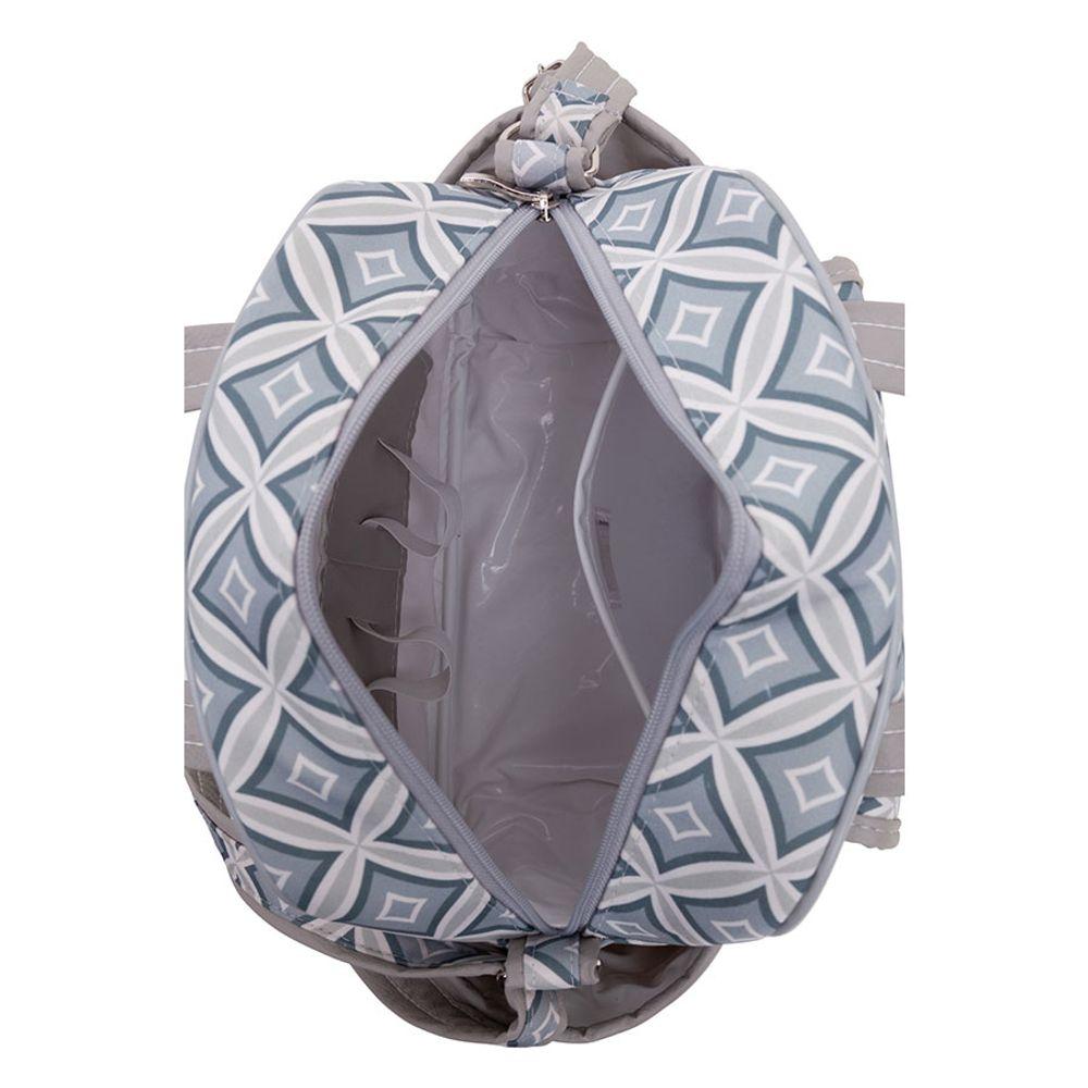 Mochila Maternidade Geométrica Duda Cinza abertura