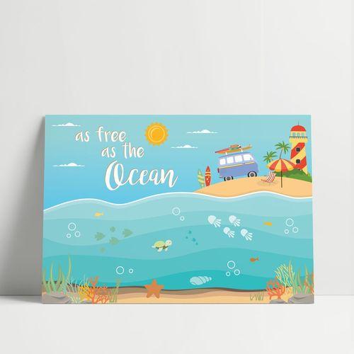 GRAVURA AS FREE AS THE OCEAN LARANJA