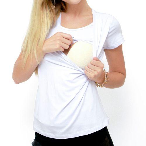 Blusa para Amamentar Basic Branco abertura