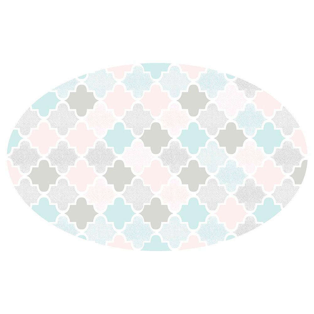 Tapete Estampado Vinílico Arabesco Oval Rosa 100X160cm