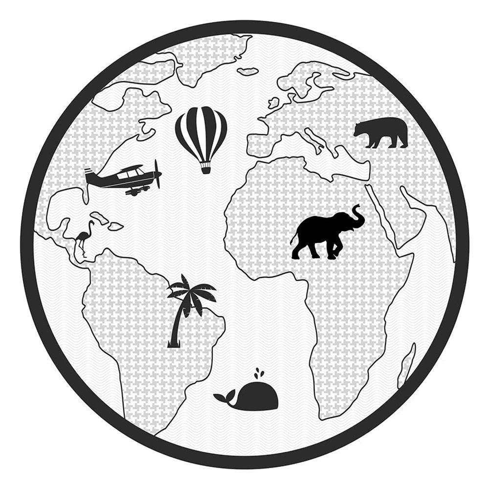 Tapete Interativo Vinílico Mapa Mundi Preto 100cm