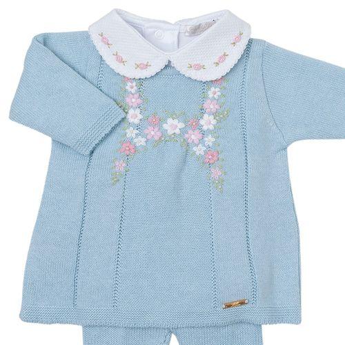 Vestido de Bebê Bordado com Flores Azul Pó - Saída de Maternidade 1