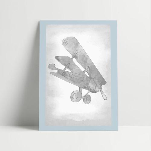 Gravura Avião Classic Azul