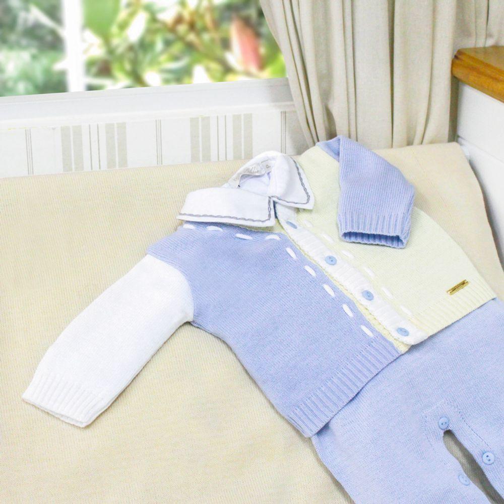 Saída de Maternidade Bicolor com Pesponto Azul Céu 1