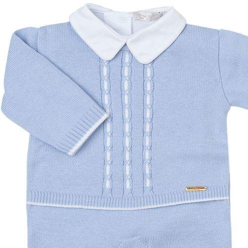 Macacão de Bebê Tranças Bicolor Azul Céu - Saída de Maternidade 1