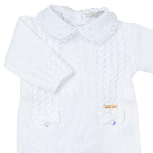 Macacão de Bebê Tranças com 2 Laços Branco - Saída de Maternidade