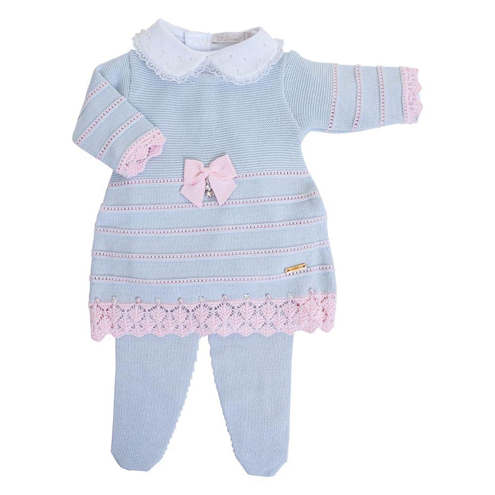 Vestido de Bebê Azul Pó com Barra Rendada - Saída de Maternidade inteira
