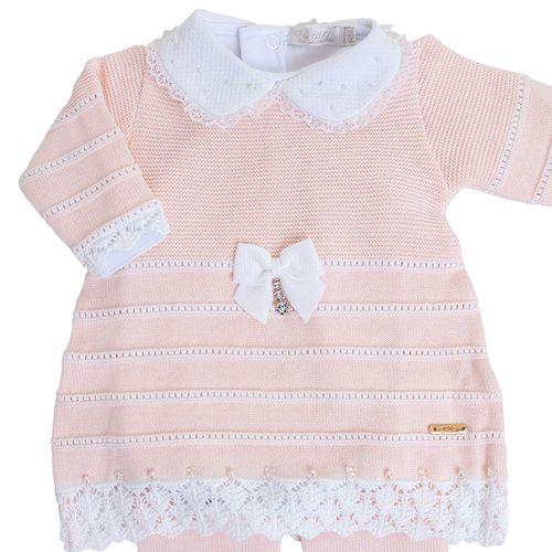 Vestido de Bebê Salmão Claro com Barra Rendada - Saída de Maternidade