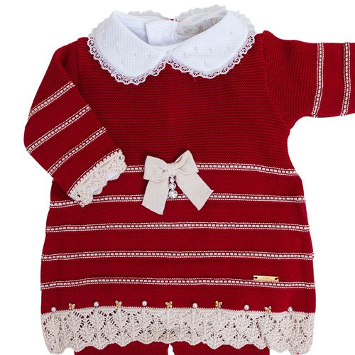 Vestido de Bebê Vermelho com Barra Rendada - Saída de Maternidade