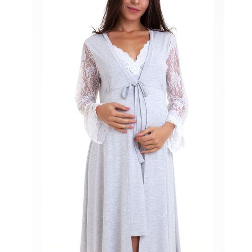 Camisola Maternidade com Robe Agata Mescla