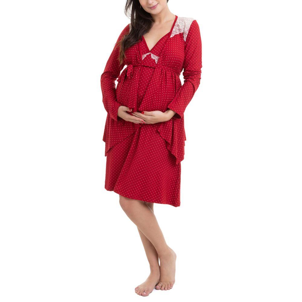 Camisola Maternidade com Casaco Jade Vinho corpo inteiro