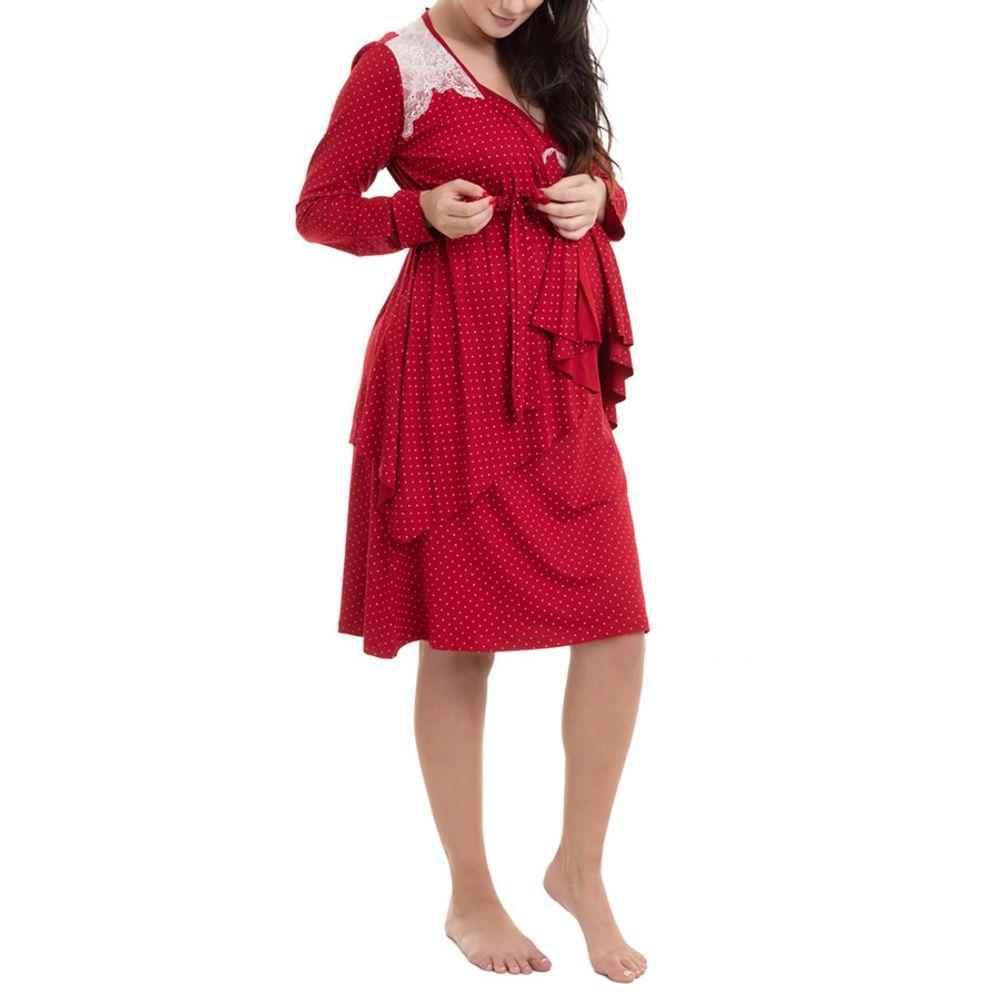 Camisola Maternidade com Casaco Jade Vinho lateral