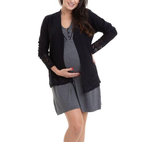 Camisola Maternidade com Casaco Laís Mescla Escuro