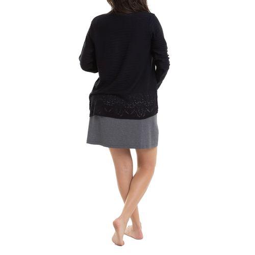Camisola Maternidade com Casaco Laís Mescla Escuro costas