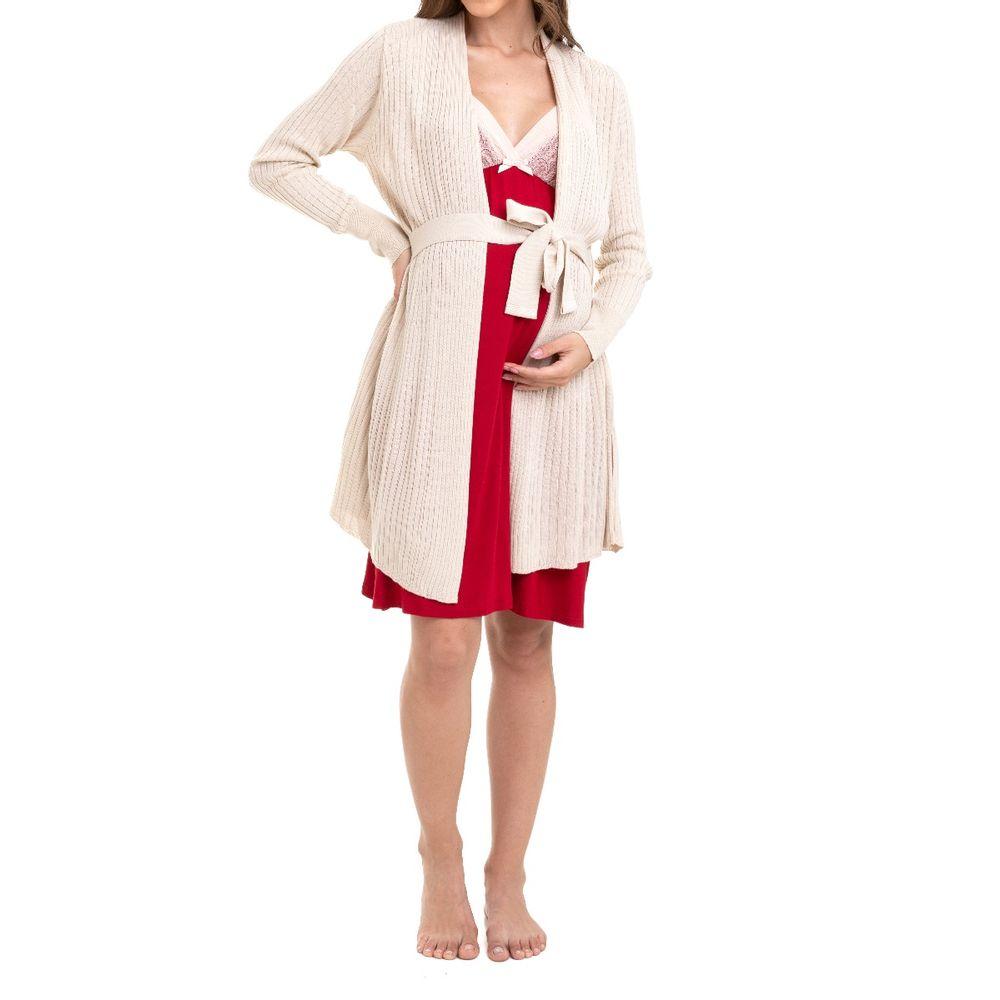 Camisola Maternidade com Cardigan Nicole Vermelho corpo
