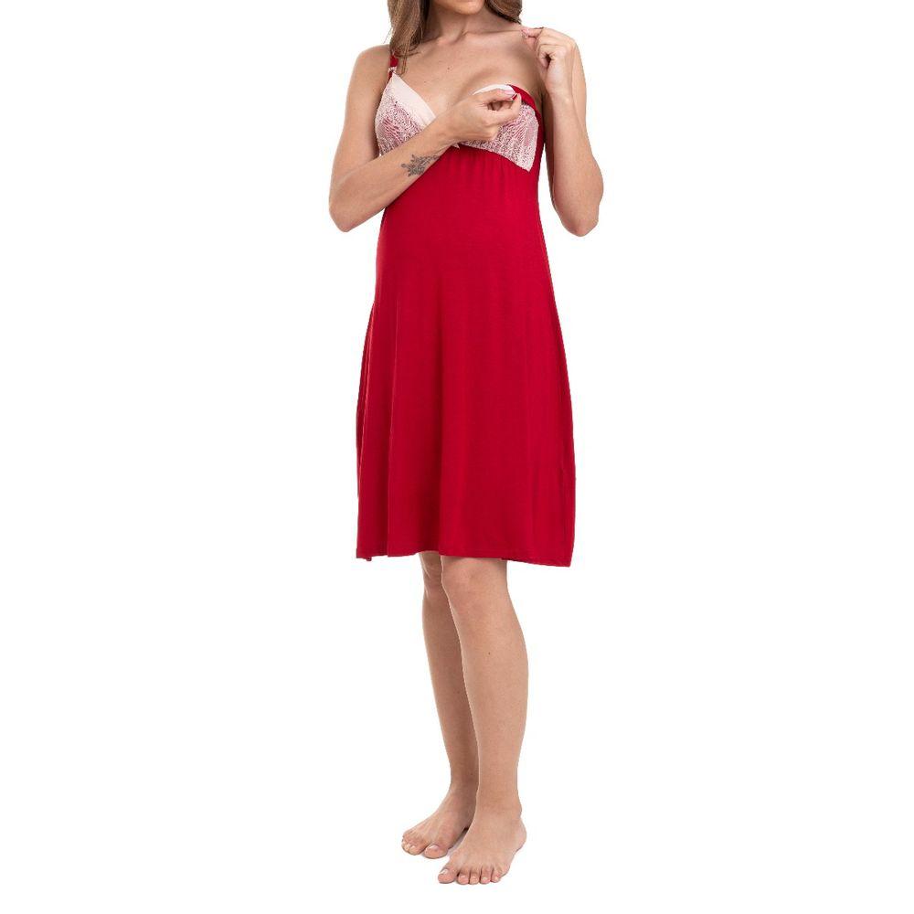 Camisola Maternidade com Cardigan Nicole Vermelho abertura