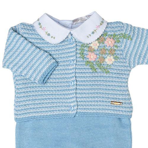 Saída de Maternidade Listras Bordado com Flores Azul Claro