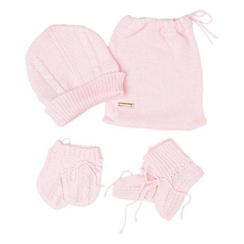 Kit Touca e Luva Tranças Rosa