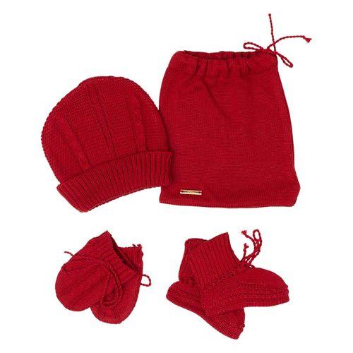 Kit Touca e Luva  Tranças Vermelho