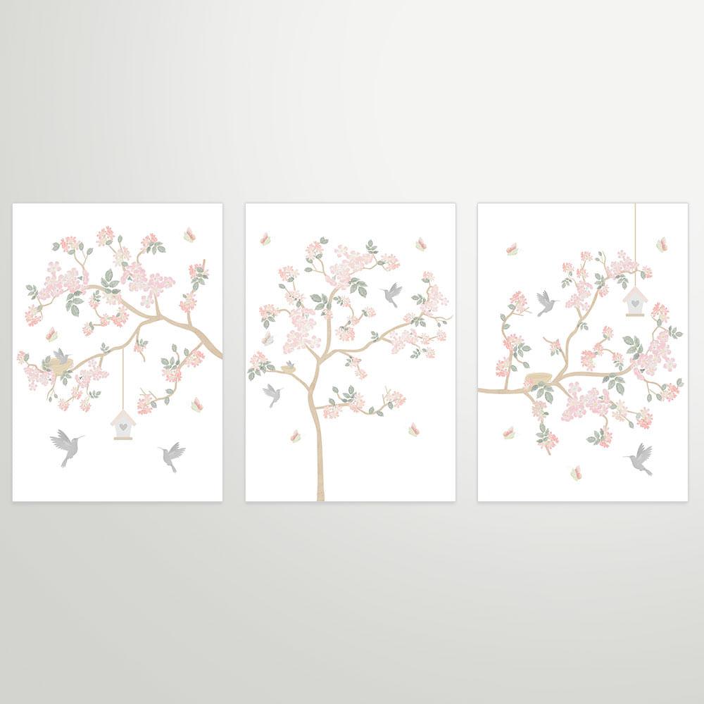Composição com 3 Gravuras Jardim Liv Rosa