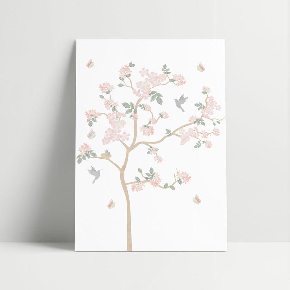 Composição com 3 Gravuras Jardim Liv Rosa árvore