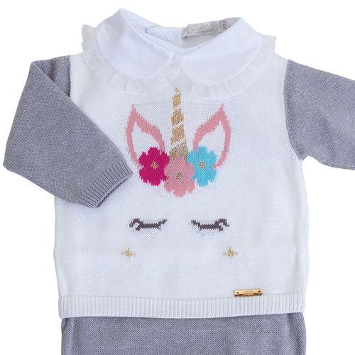 Macacão de Bebê Unicórnio Cinza - Saída de Maternidade