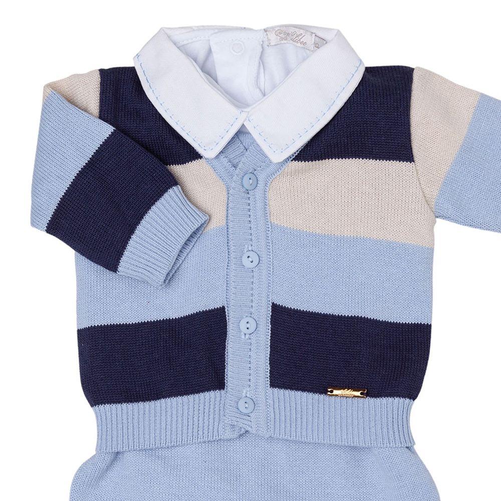 Saída de Maternidade Azul Claro Listrado com 3 Cores