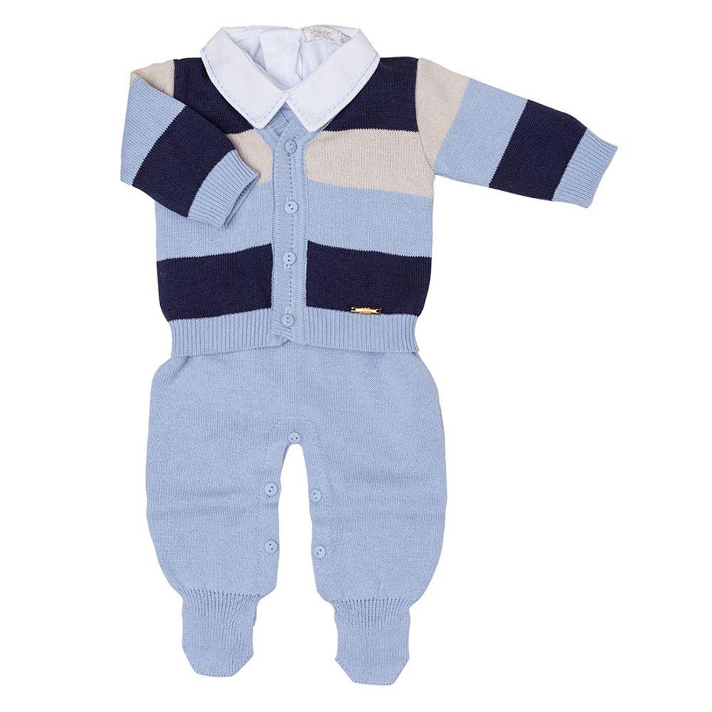 Saída de Maternidade Azul Claro Listrado com 3 Cores aberta