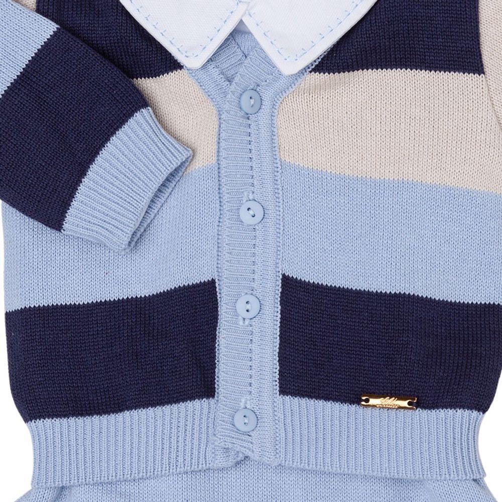Saída de Maternidade Azul Claro Listrado com 3 Cores detalhe