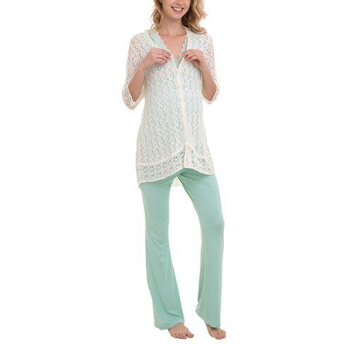 Pijama Maternidade Manuella - 3 peças Verde