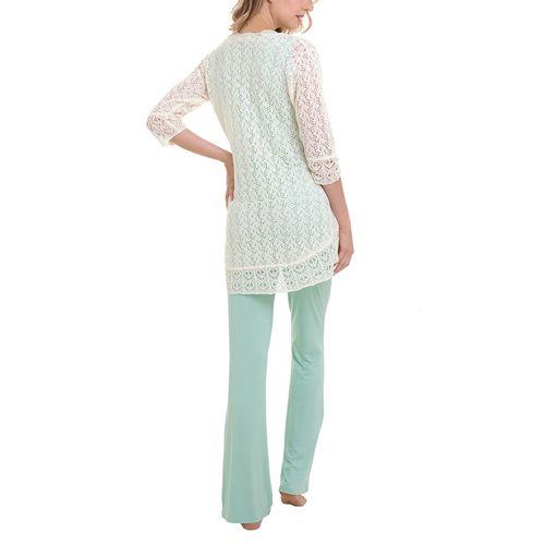 Pijama Maternidade Manuella - 3 peças Verde costas