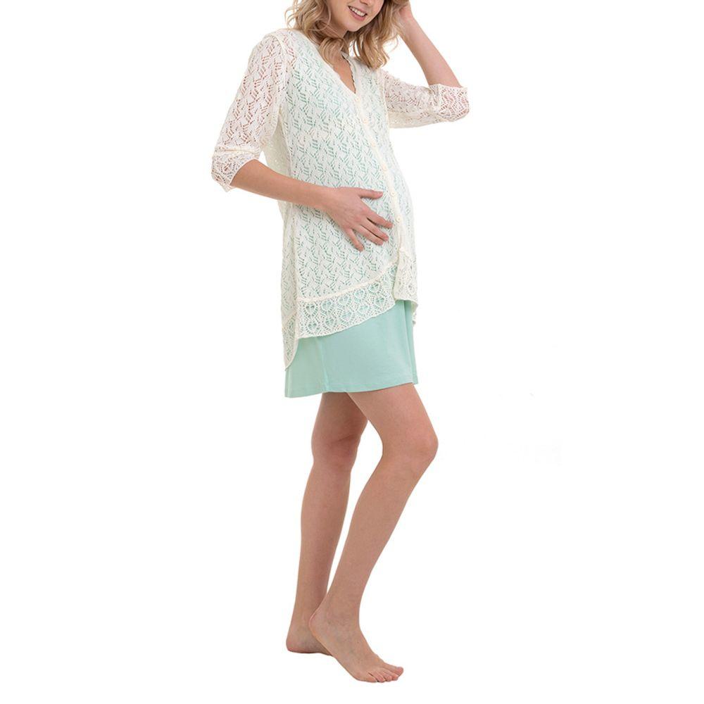 Camisola Maternidade com Casaco Manuella Verde lado