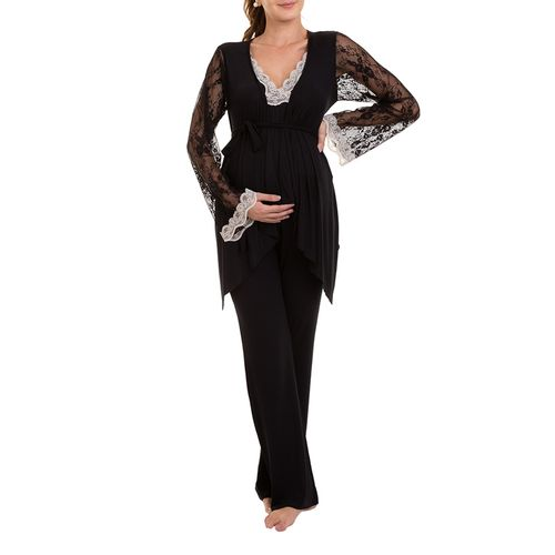 Pijama-Maternidade-Yasmin-3-Pecas-Preto-com-Casaco-Frente