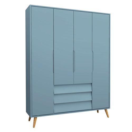 Guarda Roupa Infantil 4 Portas Pop Azul e Pinus 1