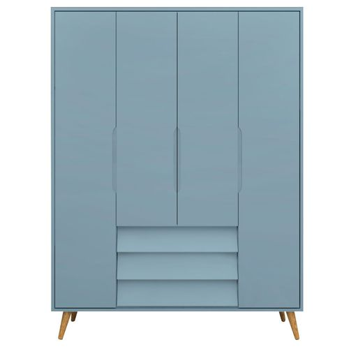 Guarda Roupa Infantil 4 Portas Pop Azul e Pinus 2