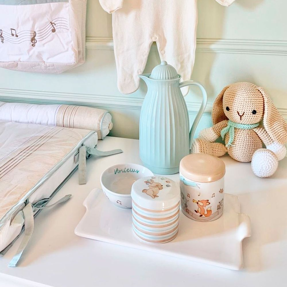 Kit Higiene Porcelana Personalizado com Pote P, Pote M e Cumbuca 1