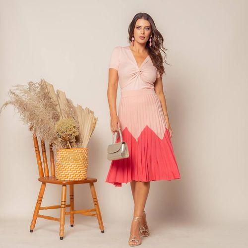 Saia-Midi-Tricot-Plissada-Bicolor-Rosa-e-Pink-1