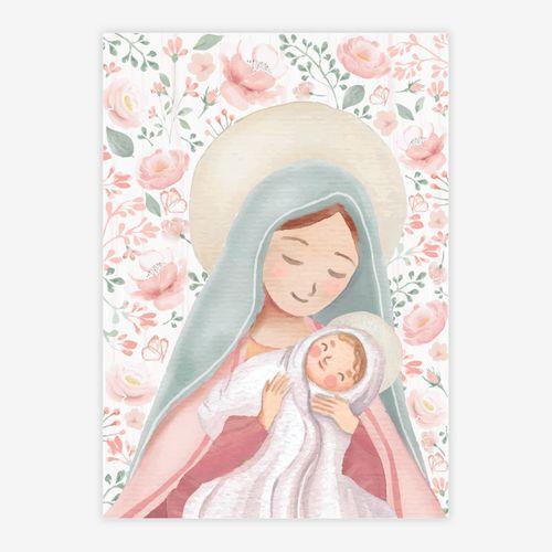 Quadro-Infantil-Nossa-Senhora-com-Flores-Rosa-1