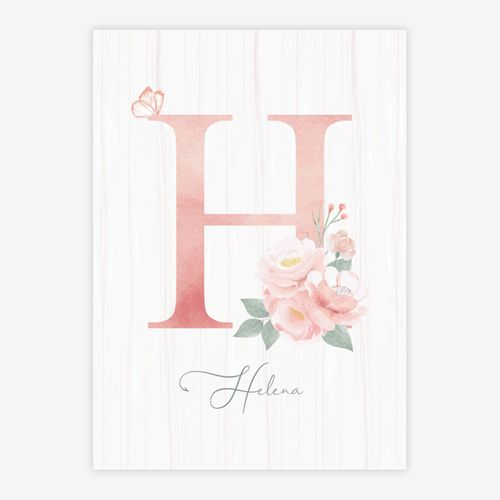 Quadro-Infantil-Floral-Letra-Rosa-1
