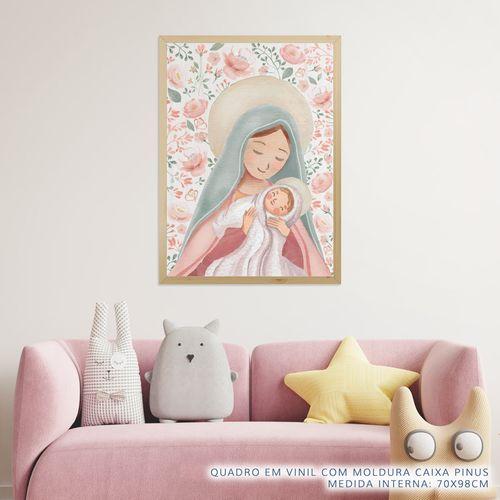 Quadro-Infantil-Nossa-Senhora-com-Flores-Rosa-2